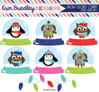 Clipart - Snow Globes Winter Holiday Graphics with Christmas Light Bunting
