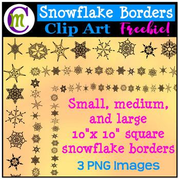 Snowflake Borders Clipart FREEBIE