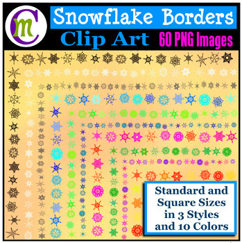 Clipart ♦ Snowflake Borders and Frames Clip Art