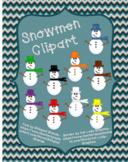 Clipart Snowmen **9 different colors**