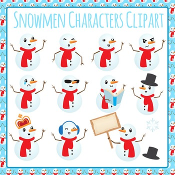 Snowmen Characters Clip Art Pack for Commercial Use