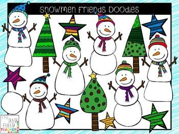 Clipart - Snowmen Friends Doodles