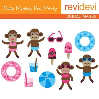 Clipart Sock Monkey Pool Party
