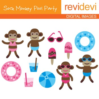 Clipart Sock Monkey Pool Party