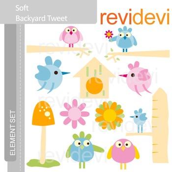 Birds clip art: soft backyard tweet
