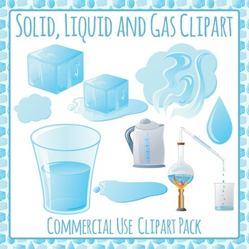 Solid, Liquid and Gas (States of Matter) Clip Art for Commercial Use