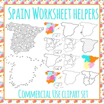 Spain Worksheet Helpers Clip Art Pack for Commercial Use