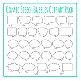 Speech Bubbles Outlines Cartoon Clip Art Pack for Commercial Use