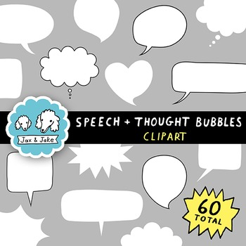 Clipart: Speech and Thought Bubbles Set for Personal and Commercial Use
