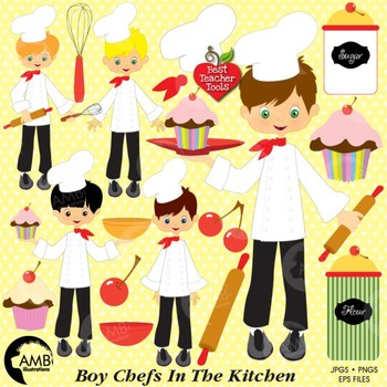 Clipart, Chefs in the Kitchen, Boys Baking, Cooking, Commercial Use, AMB-254