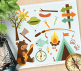 Clipart - Bear in the woods, camping, woodland animals