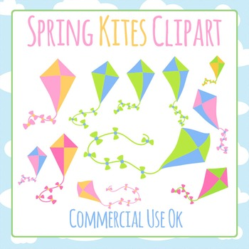 Kites and Clouds Clip Art for Commercial Use