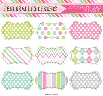 Clipart -  Spring Labels / Frame Tags