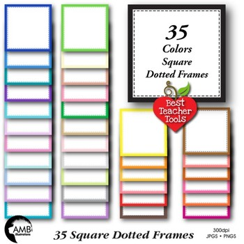 Clipart, Square Dotted Frames commercial use, vectors, AMB-1151