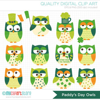 Clipart - St. Patrick's Day Owls / Green Owl