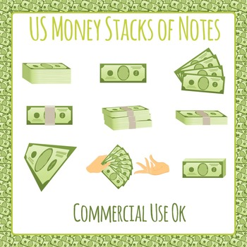 Money in Stacks and Bundles Clip Art Pack for Commercial Use