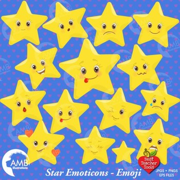 Star Clipart, Emoticons Clipart, Stars, Emoji, {Best Teacher Tools} AMB-1157