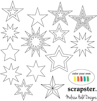Clipart: Stars Color Your Own Clipart