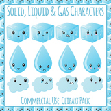 States of Matter Characters Solid, Liquid & Gas Clip Art Commercial Use