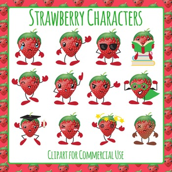 Strawberry Character Clip Art pack for Commercial Use