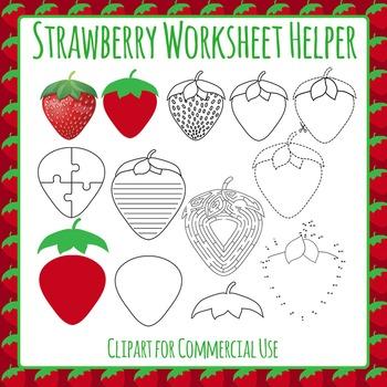 Strawberry Worksheet Helper Clip Art for Commercial Use