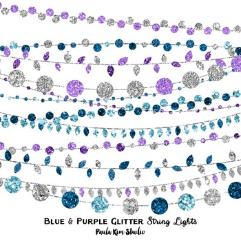 Clip Art - String Lights Blue and Purple Glitter