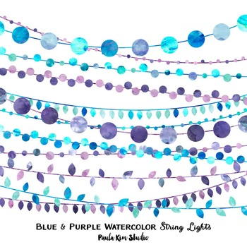 Clipart - String Lights Blue and Purple Watercolor