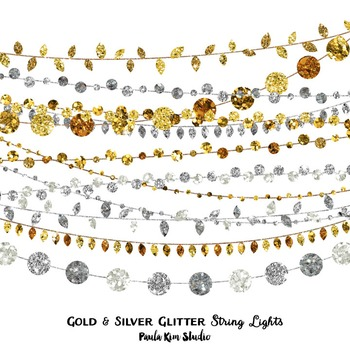 Clipart - String Lights Gold and Silver Glitter