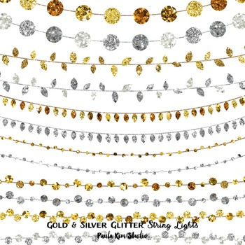 String Lights Clipart Amazing Clipart String Lights Gold And Silver Glitter By Paula Kim Studio