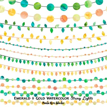Clipart - String Lights Green & Yellow