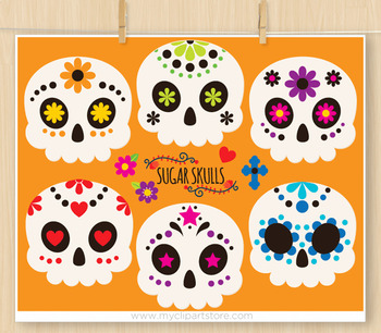 Clipart - Sugar Skulls / Cinco De Mayo / Day of the Dead / Dia de Muertos