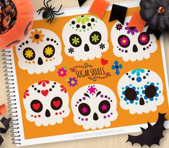 Clipart - Sugar Skulls / Cinco De Mayo / Day of the Dead /