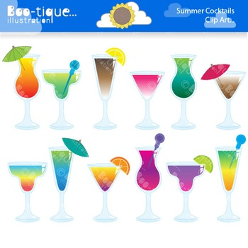 Clipart- Summer Drinks Clipart. Summer Cocktails Clip Art. Drinks Clip Art.