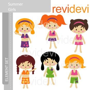 Clipart Summer Girls E065, clip art E065