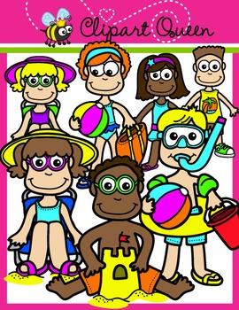 Clipart: Summer Time Beach Kids