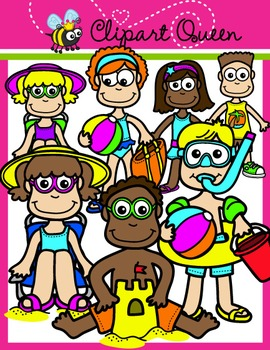 Clipart: Summer Time Beach Kids