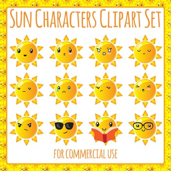 Sun Character Clip Art Pack for Commercial Use