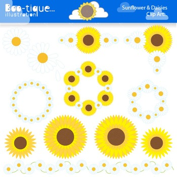 Clipart- Sunflowers and Daisies Digital Clip Art. Flowers Clipart.