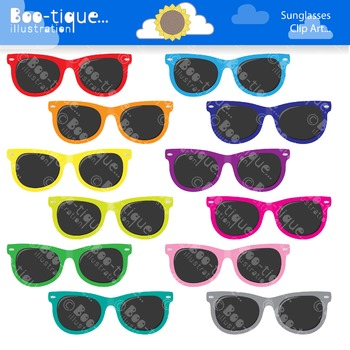 Clipart- Sunglasses Clip Art. Multi Colored Sunglasses Clipart. Shades Clipart