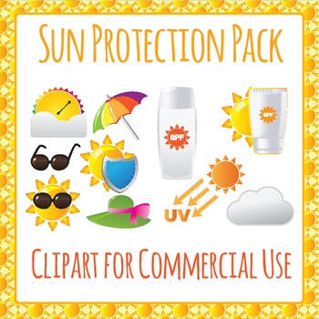 Sunsmart Sun Protection Clip Art Pack for Commercial Use