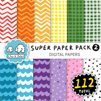 Clipart: Super Paper Bundle 2! 112 Digital Papers Personal and Commercial Use