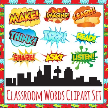 Superhero Classroom Words Clip Art Pack for Commercial Use