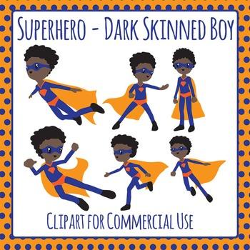 Superhero Dark Skinned Boy Character Clip Art for Commercial Use