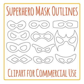 Superhero Mask Outlines Clip Art Pack for Commercial Use