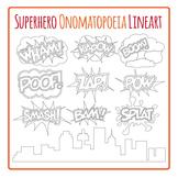 Superhero Onomatopoeia Line Art Pack - Zap Boom Bam Wham Kapow Pow