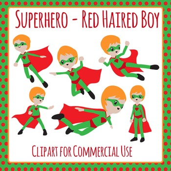 Superhero Red Headed Boy Character Clip Art for Commercial Use