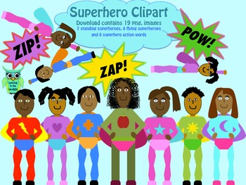 Clipart: Superheroes Dark Skin (by request)
