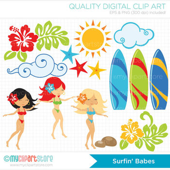Clipart - Surfin' Girls / Hula / Surf / Beach / Ocean