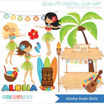 Clipart - Surfin' / Hula Girls (Aloha!) / Surf / Beach