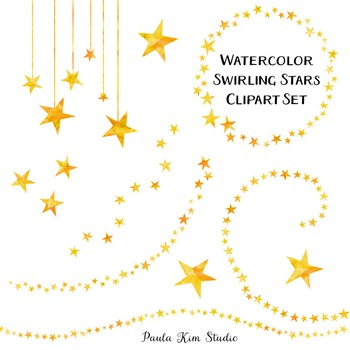 Clipart - Swirling Watercolor Stars